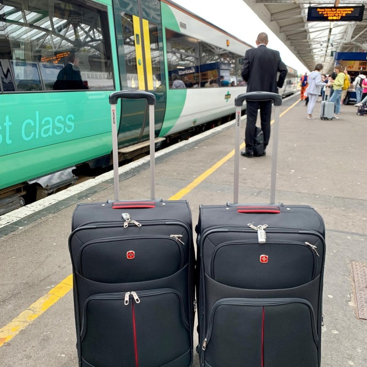 Suitcases by train